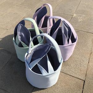Easter Bunny Basket Rabbit Ears sacolas doces Sacos Seersucker listrado Cestas Carry Bucket Crianças Coelho Orelha presentes Bolsa Festival de Páscoa A122103
