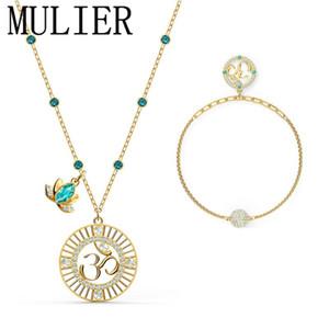 SWA 2020 Nuovo Om simbolico simbolo verde del loto di cristallo, regalo piena fioritura Lotus collana Rappresenta La calma è la migliore per le donne