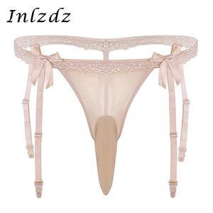 Sissy Bragas Cerrado / Abierto Pene Vaina Hombres Low Rise Ruffle Lace Bikini Lencería Calzoncillos Open Back Stretch Sissy Thong Underwear