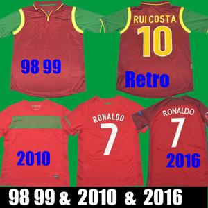 1998 1999 Portogallo RETRO maglia da calcio 98 99 FIGO Rui Costa classica camicia di calcio della camicia vendemmia 2010 Camisa de futebol 2016 Ronaldo Camicia