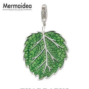Hot Vender Moda Europeu 925 Sterling Silver Pure e Fresh Green Leaf Pétala Pingente Charme Fit Charme Pulseira Para As Mulheres