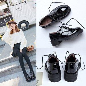 3633 Zapatos de mujer estilo británico retro otoño de fondo grueso zapatos Bullock, además de terciopelo con cordones del dedo del pie de ida y estilo de la universidad LEA pequeña