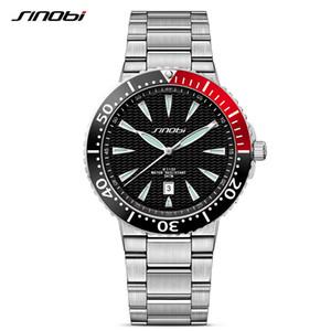 SINOBI de los hombres de los relojes luminoso puntero de acero inoxidable correa de reloj lujo de la marca de deportes masculino de Ginebra relojes de cuarzo Saat