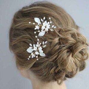 SLBRIDAL Wired Rhinestone cristal Cerâmica Flor Pérolas acessórios Wedding Hair Pin Set nupcial Sticker Cabelo Mulheres Jóias