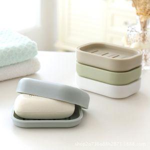 Jabón de plástico espesar la bandeja del jabón del plato soporte con jabón Almacenamiento tapas portaplatos envase de la caja para el baño de ducha del cuarto de baño Suministros DBC BH3475