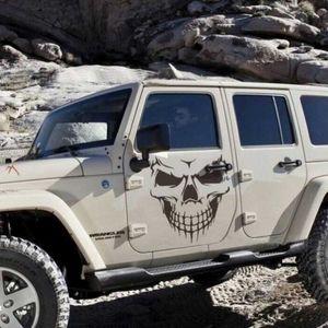 2 Pçs / set Car Tampa Decalques Do Crânio Cabeça Personalidade Domineering Off-road Modificado Adesivos para Jeep Jeep Wrangler