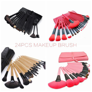 24X / Set professionelle Make-up-Pinsel-Set Black Wood Red Make-up-Bürsten-Kosmetik-Bürste-Schönheits-Werkzeuge HHA-206