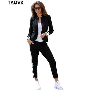 TAOVK women 2 two Piece Set suits Long sleeve stand-up collar buttonless Black and white tracksuit T200602