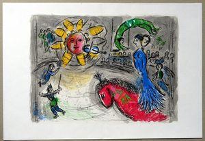 Marc Chagall Sun mit Red Horse 1979 Wohnkultur handgemaltes Ölgemälde auf Leinwand-Wand-Kunst-Leinwandbilder 200604