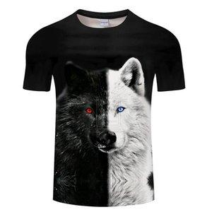 Vente en gros Yin et Yang du loup des hommes T-shirt Streetwear Noir T-shirt décontracté impression T-shirt des hommes 3D
