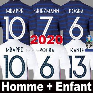 Maillot de foot France EURO Cup 2020 2021 GRIEZMANN MBAPPE POGBA 2018 Maillots Francais 100e 100th anniversaire KANTE Kids 20 21 hommes enfants femmes soccer jersey