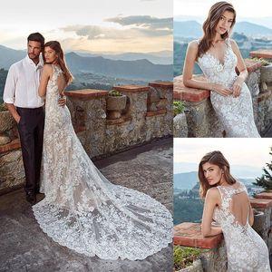 Sereia bonita Bohemian Eddy Wedding Dresses Spaghetti mangas Tulle Lace Applique oco Vestidos de casamento Trem da varredura robe de mariée