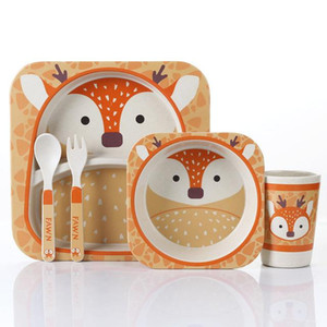 5pcs / set Animal Zoo Baby Plate Bow Cup Gabeln Geschirr Feeding Set 100% Bambusfaser Baby-Kind-Geschirr Set