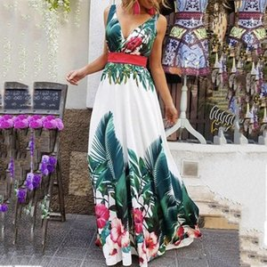 Fashion Maxi Dress Summer V-neck Collect Waist Dresses Female Bohemian Print Sundresses 2020 Boho Sexy Printed Dresses D3