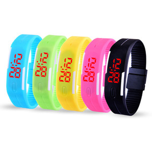 Sports Rectangle watch Led Digital watch Display Touch Screen Watches Candy Rubber Belt watch Silicone Led Touch Wristwatch