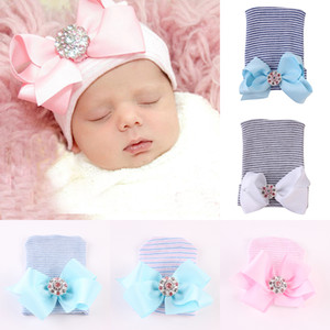 7 colors Cute Infant Toddler Unisex Bow Shiny Diamond hat Kids Spring Autumn Knitted Caps Baby stripe Hats Cotton Headwear 12*9cm C1817