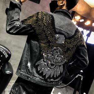 YASUGUOJI New 2019 style Punk mode Aigle brodé Patch Jean Veste Homme Denim Vestes Streetwear Slim Noir Veste Homme
