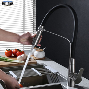 Edelstahl-Schwarz-Schlauch-Küche-Hahn Doppelfunktionen Sprayer Out Pull Küche Wasser Mixer Brushed Tap Ware Weiß Rot Grün