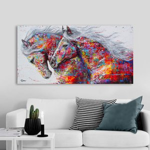 Canvas Painting Animal Wall Art Two Horse Posters and Prints Wall Pictures For Living Room Decoration Dining Restaurant Hotel Home Decor