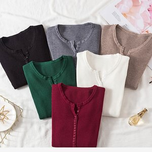AOSSVIAO 2020 Autumn Winter Button V Neck Sweater Women Basic Slim Pullover Women Sweaters And Pullovers Knit Jumper Ladies Tops T200607