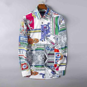 2019 Nouvelle impression de la mode d'été Free shipping manches longues haute taille asiatique chemise décontractée design hommes de coton-3XL
