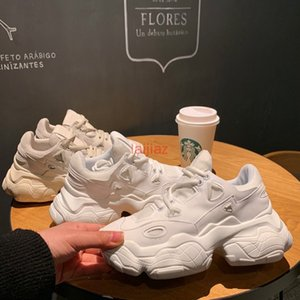 White Shoes Female 2019 Ins Thick-soled Sports Shoes Lace Sneakers