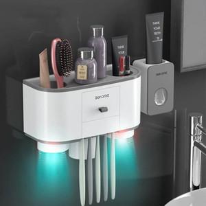 Magnetic Titular Adsorção Escova Distribuidor Automático dentífrico espremedor de Wall Mount armazenamento do banheiro Acessórios Sets 2or3 Cups