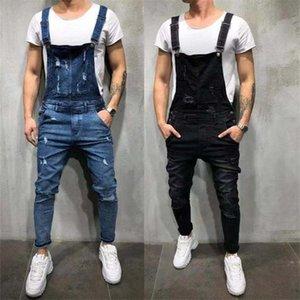 mens denim belt suspender jeans conjoined pants