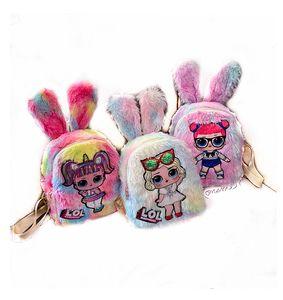 novas bonecas Kids Brinquedos desenhador menina Mochila de pelúcia com luz meninas orelha de coelho dos desenhos animados sacos Mochilas presentes do Natal malas DHL gratuitos