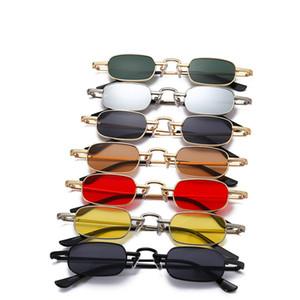 Shades Retro Sunglass WomenMen Moda Small Rectangle óculos de sol do metal do vintage Quadro Hip Hop Sun Glasses Marca Vermelho Amarelo