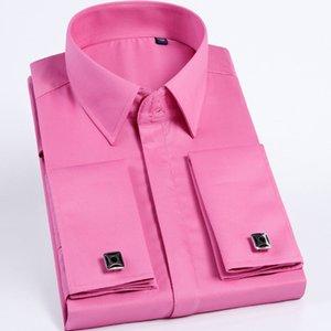 Quality Pink Men French Cufflinks Shirt Men's Shirt Long Sleeve Casual Male Brand Shirts Slim Fit French Cuff Dress Shirts