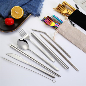 Stainless steel Dinnerware Sets Portable cutlery knife spoon fork and Western food set Chopsticks spoon Cutlery Set T9I00297