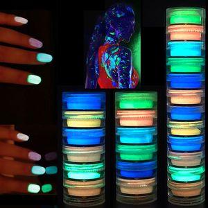 Светящиеся в темноте пудра для ногтей 6 цветов Скульптура для ногтей Акриловая кристаллическая пудра Неоновые флуоресцентные погружения светящиеся пудры 6 шт. / Компл.