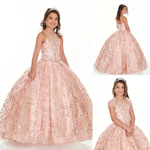 2020 Bling Brighkly Rose Gold Sequin Gold Girl Girl Wesses For Birthday Party Key Hole Back Crystal Beaded Child First Communion Dress