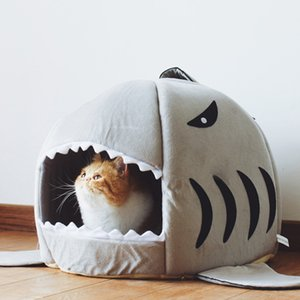 Morbido Shark Pet Dog Cat Kennel Casa Tenda Alla inverno caldo cuscino carrello Animal Supplies Bed Cave Pet