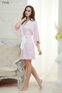 Large Sexy Size Sexy Satin Night Robe Lace Bathrobe Perfect Wedding Bride V Neck Bridesmaid Robes Dressing Gown For Women