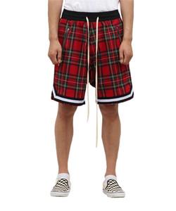 Mens scozzese Plaid Shorts oversize High Street Streetwear Mesh Tartan cavallo basso Pantaloncini con zip laterale Stretch Waist Lunghezza al ginocchio