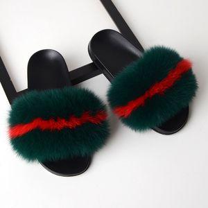 2020 Scarpe reale Fur pantofole delle donne della pelliccia Slides casa Furry piatto sandali femminili lanuginosa sveglia pantofole donna di casa