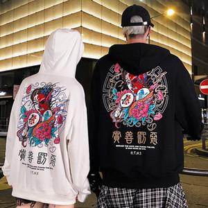 مصمم أزياء الرجال الهيب هوب هوديي البلوز الخير والشر طباعة الشارع الشهير هوديي البلوز المتناثرة عرق القميص الأسود القطن الخريف