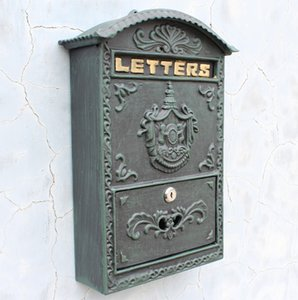Aluminiumguss Mailbox Mailbox Dunkelgrün Wandhalterung Hausgarten Dekoration Metall Vintage Apartment Buchstaben Box Abschließbare Antike Wandhalterung