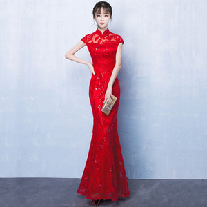 Red Bride Cheongsam Oriental Women Wedding Qipao Chinese Style Elegant Long Dress Luxury Robe Party Dresses Vestido S-4XL