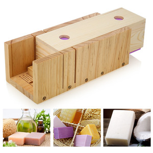 Moule en bois de coupeur de pain de savon 1200g avec l'échelle et le moule en silicone de rectangle avec la boîte en bois antiadhésive Q190430