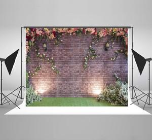 Kate da parede de tijolo fotográfica colorida de Fundo Flores da mola Fotografia Grama de algodão sem costura Backdrops casamento para Fotografia