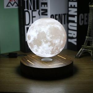 Magnetic Levitating 3D Luna Base della lampada di legno 10 centimetri di notte della lampada galleggiante luce romantica della decorazione della casa per Camera Y200104