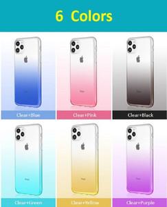Gradyan Renkler Karşıtı Şok iPhone SE 2020 11 Pro X XR XS Max 8 7 6 Plus Yumuşak TPU Renkli Ultra ince Telefon Kılıfı Şeffaf Şeffaf