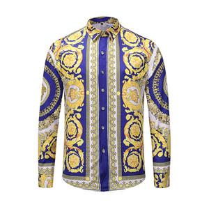 Camisas dos homens de alta qualidade Silk Cotton Slim Fit Casual shirt Men mangas compridas Medusa Shirts Preto floral do ouro Imprimir Mens Camisas de vestido