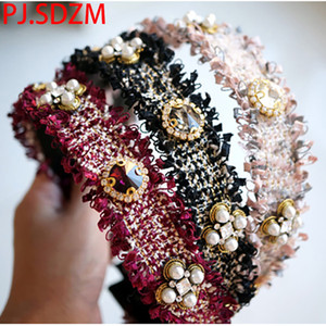 Original Korean Retro Stirnband Edelstein Strass Woolen Tweed Mit Zähnen Haarschmuck für Frauen Hairbands Lady Headwear