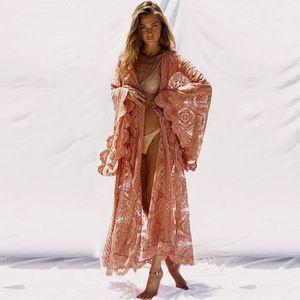 Super Chic Kimono Maxi Wrap Tunique de plage Tops manches chauve-souris Lacets longue chemise de femmes taille Kaftan Cover Up Plage Blusas