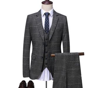 OSCN7 Grey Plaid Maßgeschneiderte Anzüge Herren 3-teilig Gentleman Business Hochzeit Maßgeschneiderte Herren Anzug Blazer Anpassen 9212-1