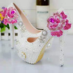 Жемчуг цветок свадебные туфли Алмаз розовая роза насосы высокие каблуки свадебные туфли 8 см 11 см 14 см Bling Bling обувь для выпускного вечера для Леди